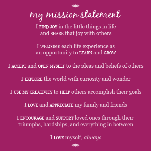 personal mission statement template for students