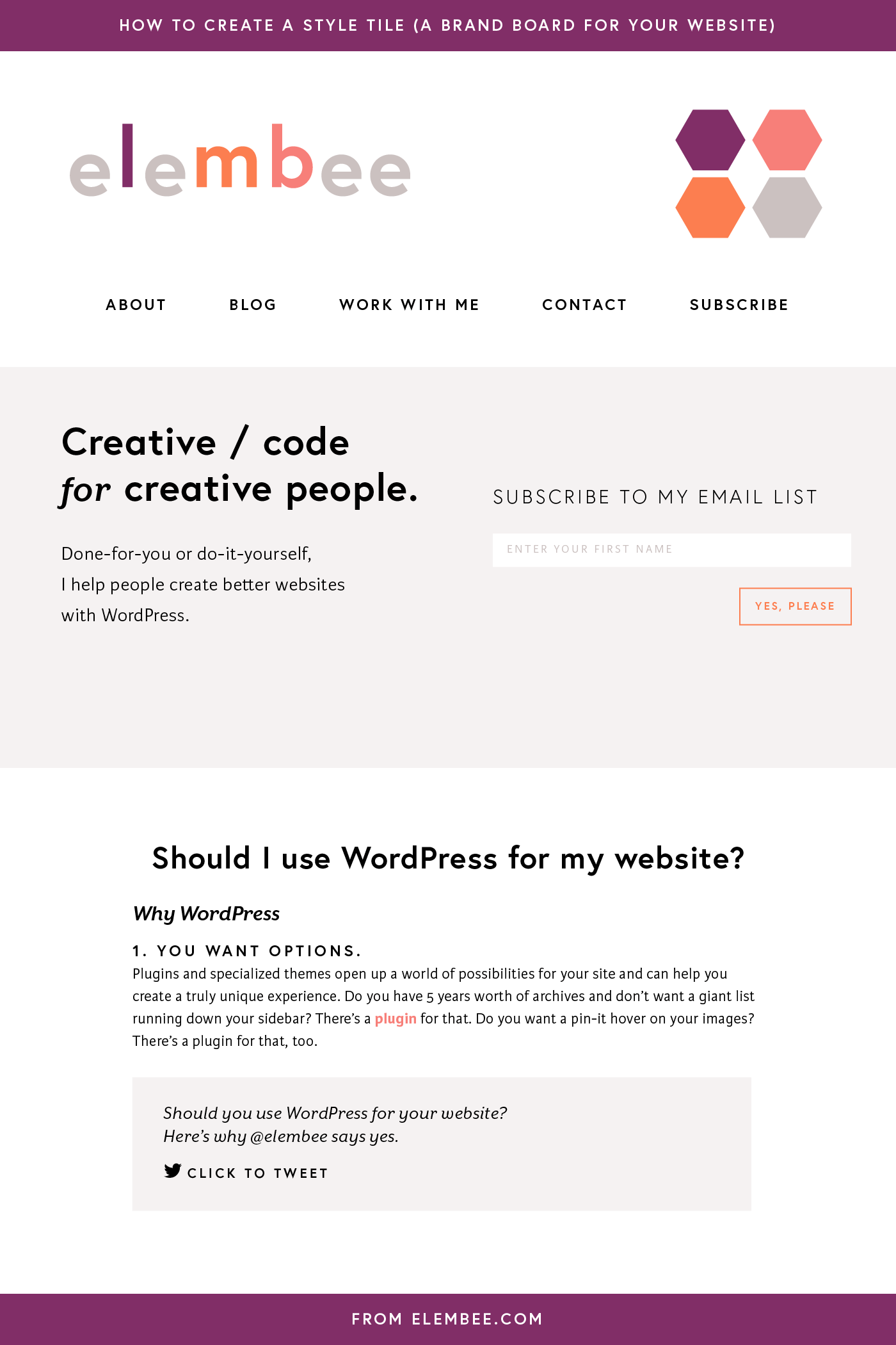 How to create a brand board or style tile for your website example